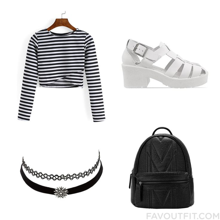 Look Stuff Including T-Shirt Platform Sandals Backpack And Tattoo Choker From December 2015 #outfit #look