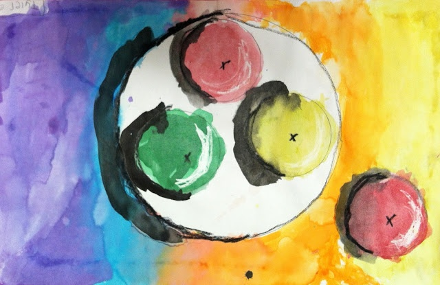 First grade apple still life - blending with watercolors, warm/cool colors, and light/shadow in art
