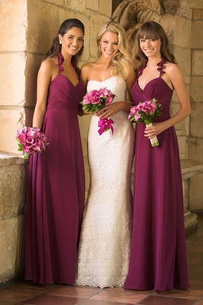 A-line V-neck Floor-Length Bridesmaid Dress with Spaghetti Straps Ruched