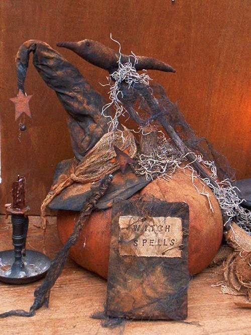 Halloween Pumpkin, Witch Hat, Spell Book & Crow