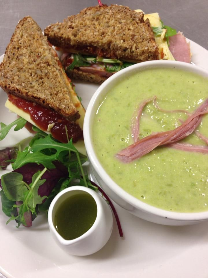 Garden Pea soup garnished with shredded Ham with a Homebaked Ham, Irish Cheddar and Ballymaloe Relish Sambo on Homemade Brown Bread!