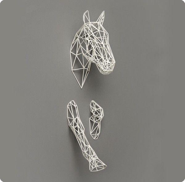 3d print De Vreemde Eend - Paard Equus wit - Aan de muur - Collectie