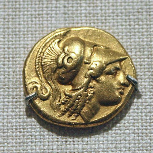 Gold Distater of Alexander III:  Head of Athena Amphipolis,330-320 BC