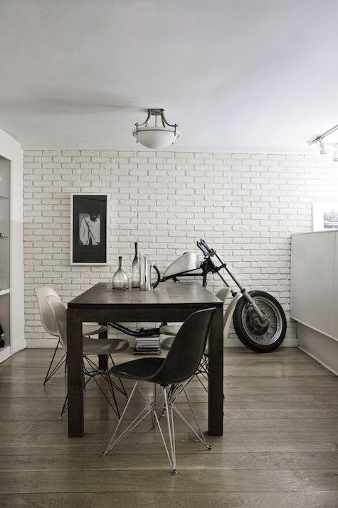 .: Dining Room, Gentry Dayton, Man House, Brooklyn Apartment, Bricks Wall, Subway Tile, Bedrooms Interiors, Bedrooms Decor, Bikes Art