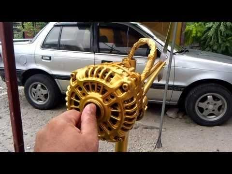 Converting a car alternator into wind generator: Assembled