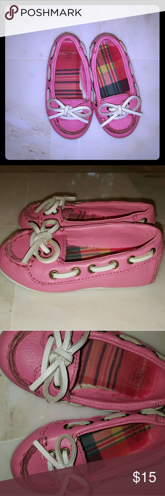 """Janie and Jack """"European Traveler""""leather loafers So adorable!  Pink leather """"European Traveler"""" girls loafers size 3 by Janie and Jack. With white leather stitched cord tie. Good,  clean condition.  They have been used multiple times,  but these are nice sturdy shoes.  Have a few scuffs on front,  and the fabric lining of the footbed is a little loose on one.  As shown in picture four. Janie and Jack Shoes"""