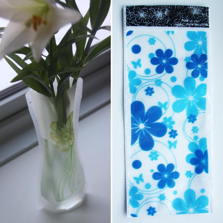 Foldbar vase, Lyseblå/mørkeblå store bolster, 20,-