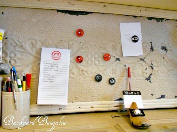 Ceiling tile magnet board: Tin Ceiling Tiles, Tin Ceilings, Bulletin Board, Magnetic Boards, Magnet Boards, Memo Boards