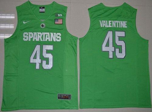 Men's Michigan State Spartans #45 Denzel Valentine 2016 Apple Green College Basketball Authentic Jersey