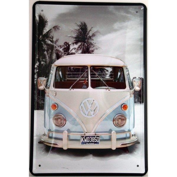 Cartel vintage motivo Van Sky Blue. Chapa metálica decorativa de pared en tonos azul-celeste.