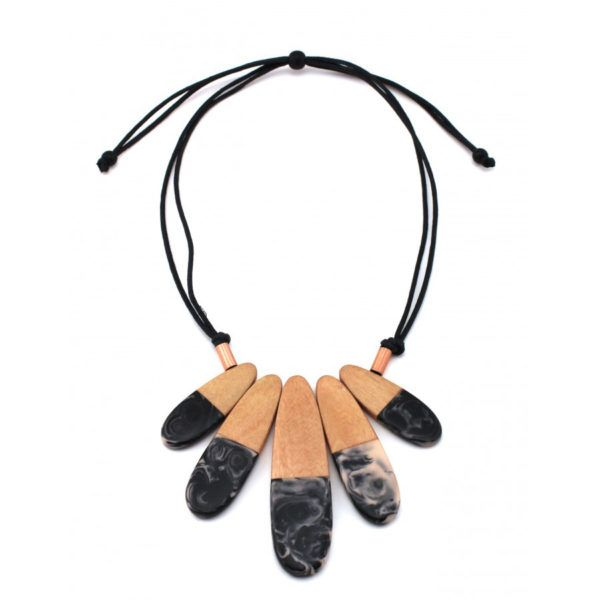 Chunky Black Resin Wooden Statement Necklace