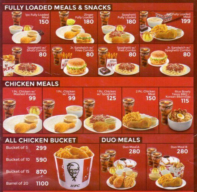 Menu Kfc Chicken Bucket Price Philippines in 2020 ...