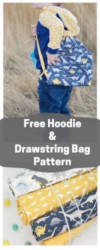 Free Kids Hoodie Sewing Pattern and Drawstring Bag Tutorial Riley Blake Fabrics Fossil Rim