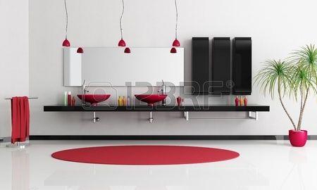 due sink rosso moderno in un bagno di bianco e nero minimalista - rendering