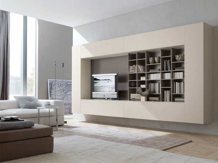 Hung Media Display and Bookcase