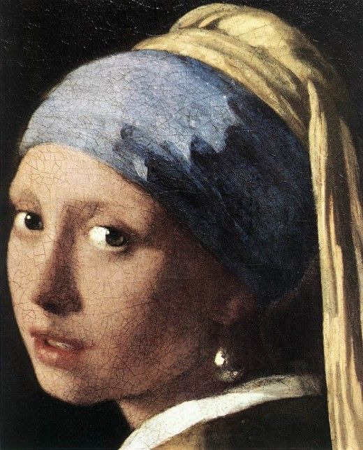 """Girl with a pearl earring: by Johannes Vermeer  It is also known as the """"Dutch Mona Lisa"""" and represents the portrait of a girl before her wedding and focuses on her pearl earring."""