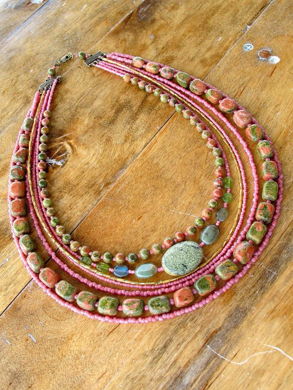 Tribal Gemstone Necklace Pink Jasper Moss by EarthGoods4TheSpirit,