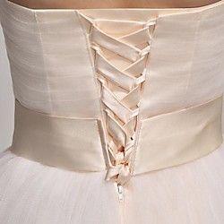 vestido de dama de honra do joelho-comprimento de tule uma linha de vestido sem alças   LightInTheBox