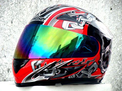 MASEI 816 DOT MOTORCYCLE HELMET RED SKULL M L XL