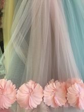 1 yard 3D tela plisada, 3D flor de la margarita de tela, fotografía de la boda telón de fondo, alta costura de malla suave tela prop(China (Mainland))