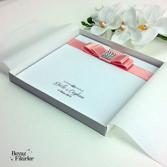 Pink Luxury Boxed Wedding Invitation 25 Card by Beyazfikirler