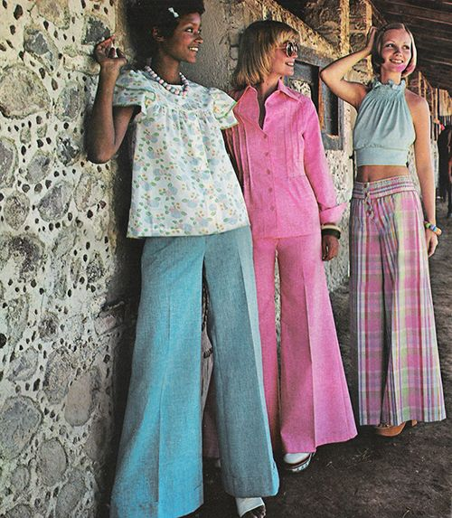 May 1973. 'Puregirl pastels. newest thing going on in pants partnerships.'