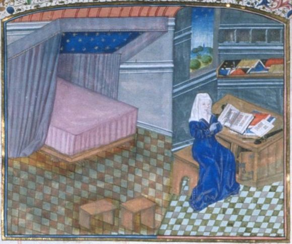 Christine de Pisan reading in her chamber, the bed tucked into an alcove.  What a lovely touch - the ceiling of the canopy is covered with stars.