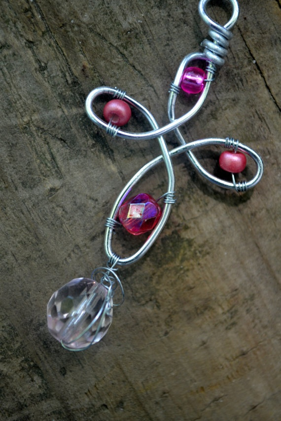 Wire wrapped cross pendant with PINK accent beads by AnnFaithDesigns, $7.00