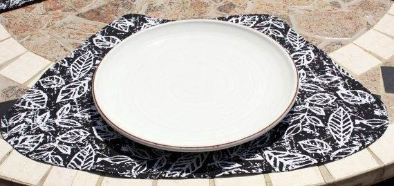 Placemats For Round Tables - Batik Leaves - Set of 4 in Black and White