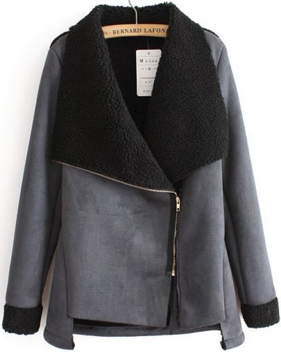 Black Long Sleeve Oblique Zipper Coat pictures: