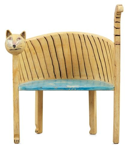 A Gérard Rigot painted wood child chair, France 1980's-90'sMuebles Furniture, Kitty Cat, Child Chairs, Stoelen Chairs, Cat Seats, Cat Stuff, Cat Benches, Chairs Design, Cat Chairs