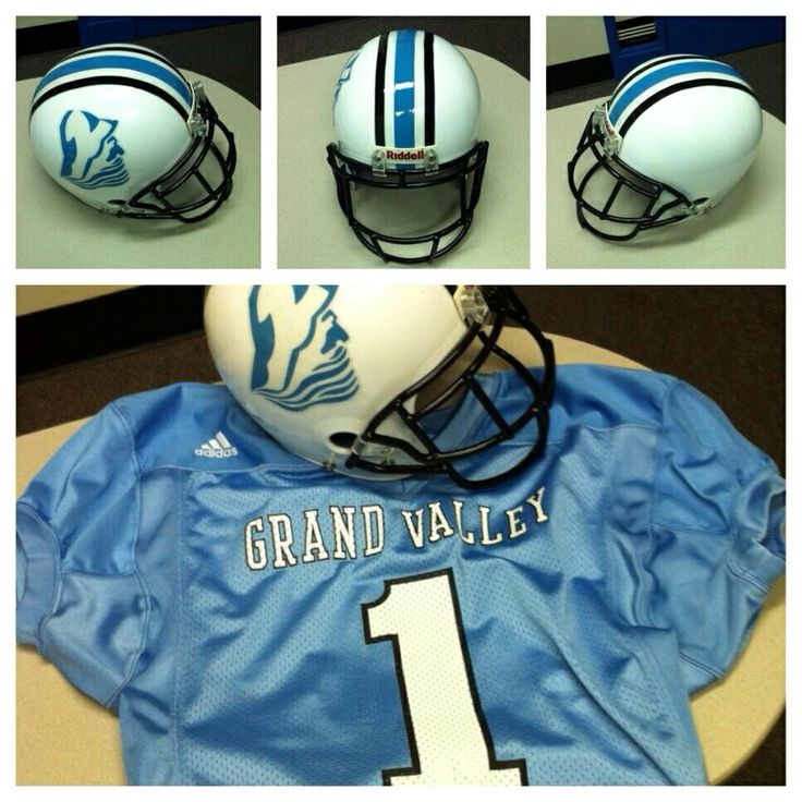 Grand Valley State University jersey, helmet and football