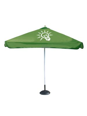 Advertising beach/patio umbrella with a square shape. Pagoda Umbrella for your outdoor communication. Fully customizable.