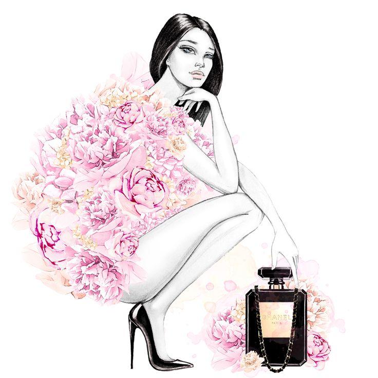Chanel 5 Print, Cute Peonies Print, Fashion Wall Art, Fashion Print,  Watercolor