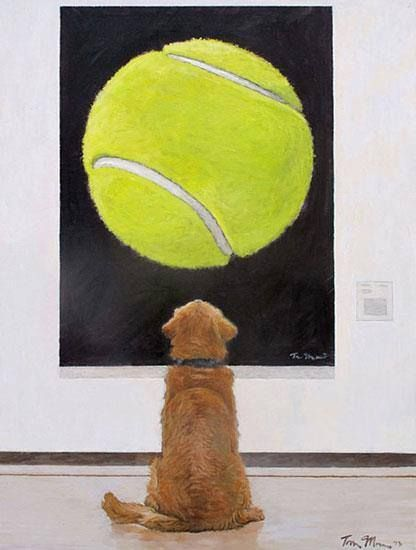 """Golden Retriever at a Museum: """"This is my gift to golden retriever owners, to all dog owners, and I wanted to share it,"""" Artist Tom Mosser"""