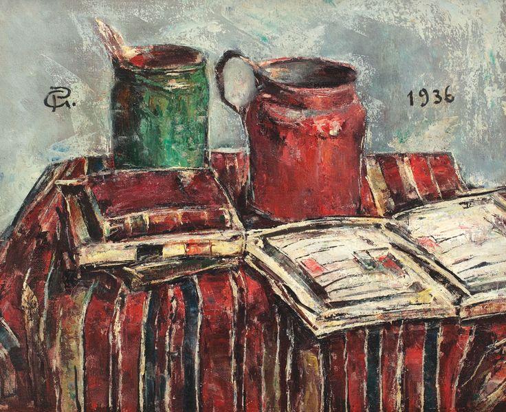 Gheorghe Petraşcu, Natură statică cu borcan cu pensule, carafă și cărți
