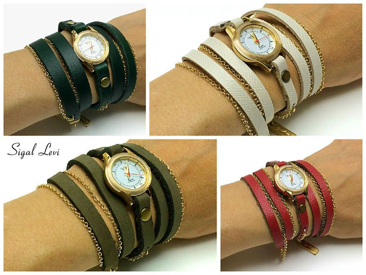Small Woman Wrap Watches In Natural Leather Strap-Womens Watch-Womens Watches-Wrap Watch-FREE SHIPPING by SigalLeviLeather on Etsy