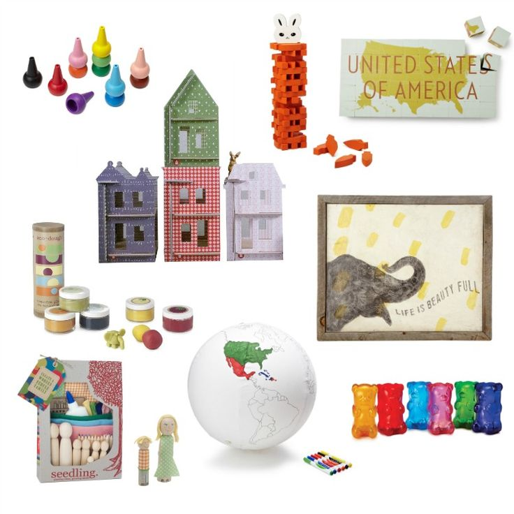 Uncommon Gift Ideas for Kids - LOVE the cardboard city set and the gummy bear lamps! So fun!