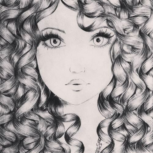 how to draw curly hair afro
