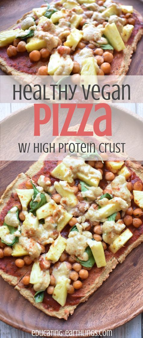 Easy & Healthy Pizza Crust, high protein vegan pizza crust, high protein pizza crust, BBQ pizza, vegan crust, blender pizza crust, vegan protein, plant based protein