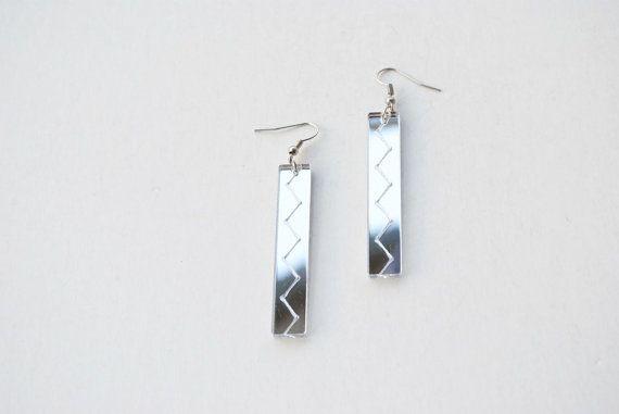 Mirror earrings mirror acrylic earrings bar by elfinadesign