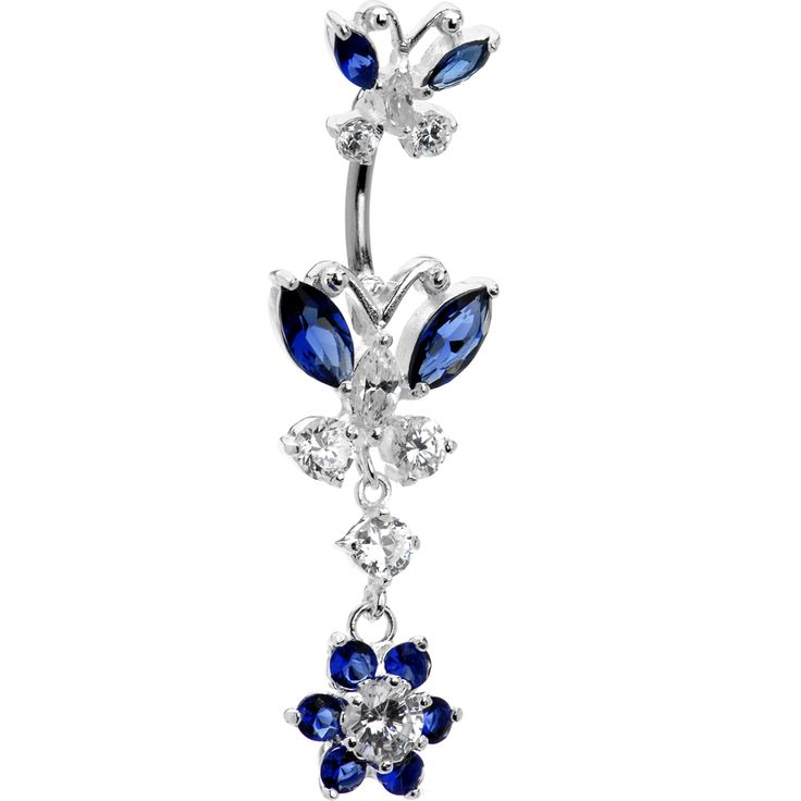 Sterling Silver 925 Sapphire Blue Cubic Zirconia Dual Butterfly Belly Ring