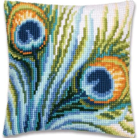 Vervaco® Peacock Feathers Pillow Cover Needlepoint Kit $34.99