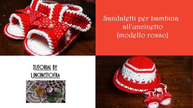 sandaletti per bambina all'uncinetto tutorial (modello rosso)