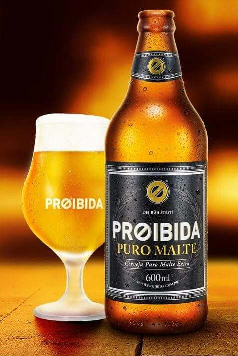 Cerveja Proibida Puro Malte, estilo Premium American Lager, produzida por Cervejaria Premium, Brasil. 5.1% ABV de álcool.