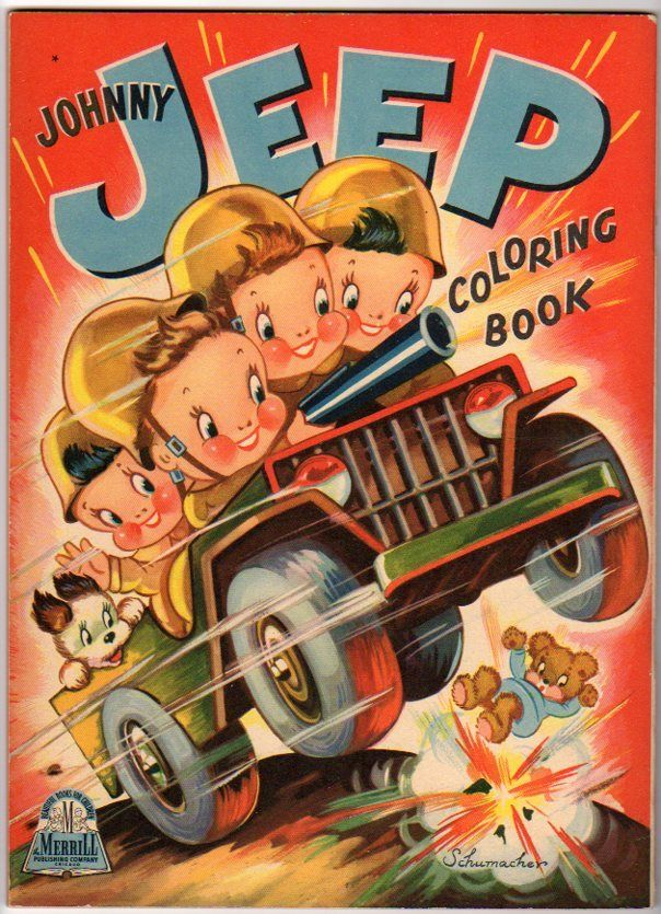 1943 johnny jeep coloring book merrill 1943 - Vintage Coloring Books