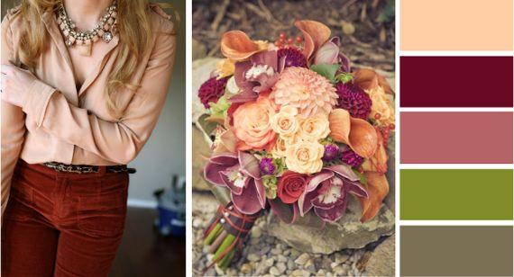 Сочетание бордового и персикового цвета яркое и экстравагантное. Легкий и свежий персик и глубокий бархатистый бордовый, как нечто невинное в паре со зрелым и сексуальным создают странный, но привлекательный контраст.
