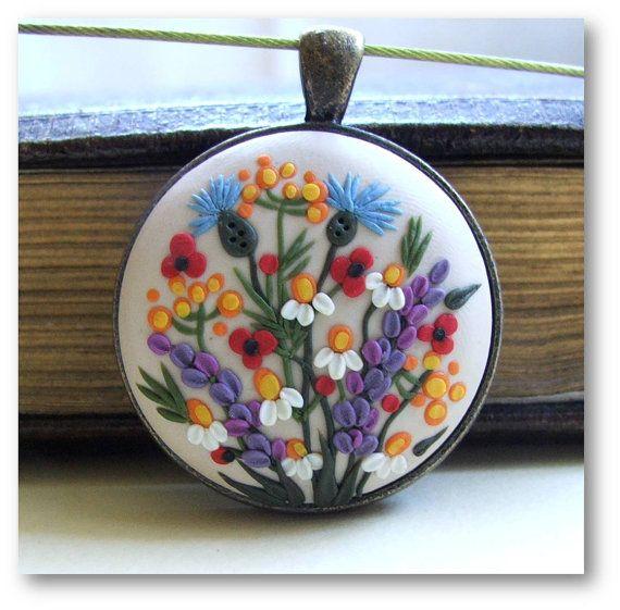 Floral Jewelry Spring Flower Pendant Floral Polymer by Floraljewel