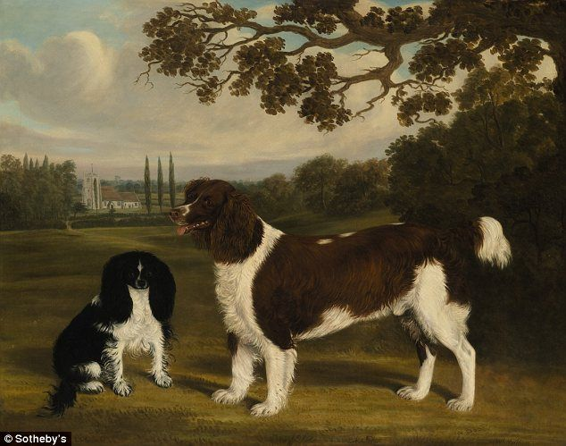 Priceless: William Nedham's A Toy Spaniel and a Springer Spaniel in a Landscape is just one of the many paintings of dogs owned by the late Mrs Astor