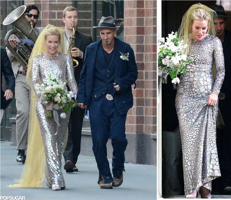 wedding news 1, mariée, bride, mariage, wedding, robe mariée, wedding dress, white, blanc, robe de mariée, Piper Perabo, Piper Perabo wedding, grey, gris, yellos, veil